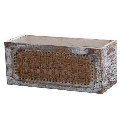 Caja organizadora madera con tejido 15x22,8x15 cm
