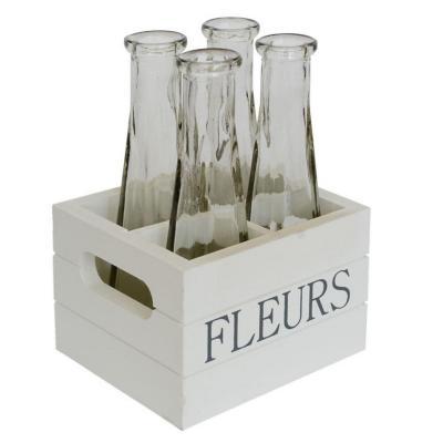 Set 4 floreros vidrio caja madera 17x11 cm blanco