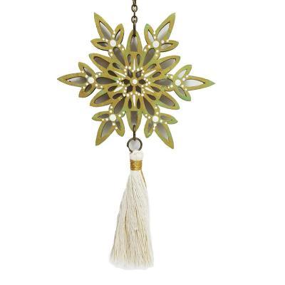 Colgante móvil mandala decorativo verde dorado
