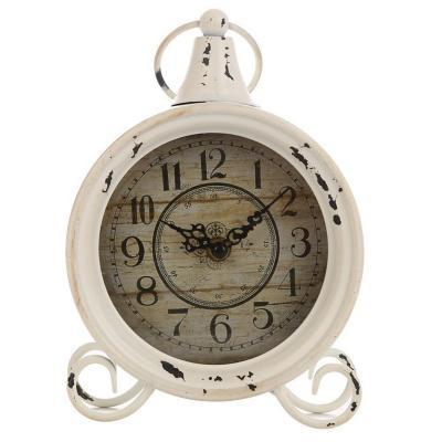 Reloj mesa diseño vintage 22 cm blanco envejecido