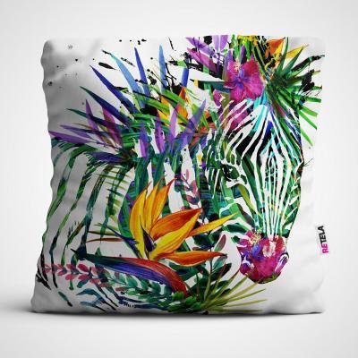 Cojin 45x45 cm ilustración zebra multicolor