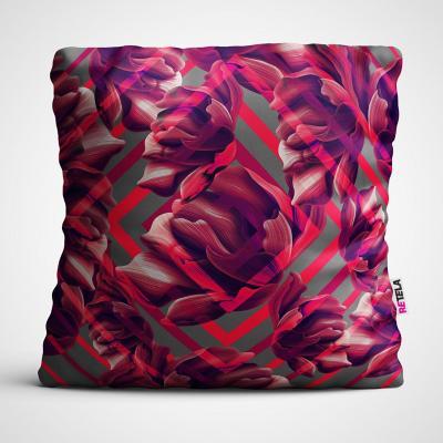 Cojin 45x45 cm ilustración flor magenta