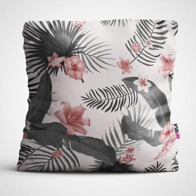 Cojin 45x45 cm ilustración tropical rosa