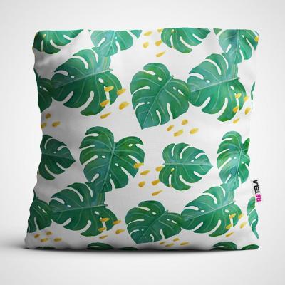 Cojin 45x45 cm ilustración hojas verdes