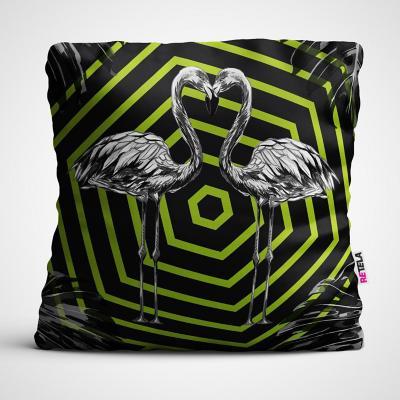 Cojin 45x45 cm ilustración psico flamingo