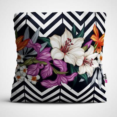 Cojin 45x45 cm ilustración flores bw