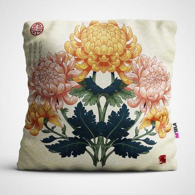 Cojin 45x45 cm ilustración flor vintage