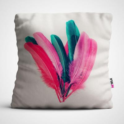 Cojin 45x45 cm ilustración mix plumas