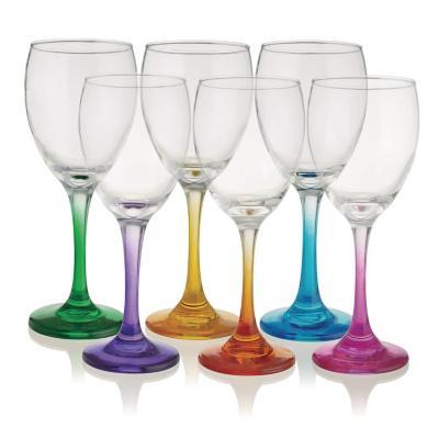 Copas vino de vidrio 300 cc colores 6 unidades