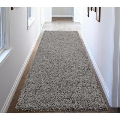 Alfombra pasillo shaggy 80x244 cm gris