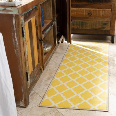 Alfombra pasillo glamour 70x180 cm amarillo