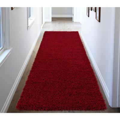 Alfombra pasillo shaggy 50x150 cm rojo