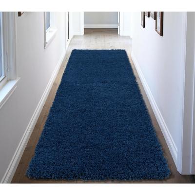 Alfombra pasillo shaggy 80x244 cm azul