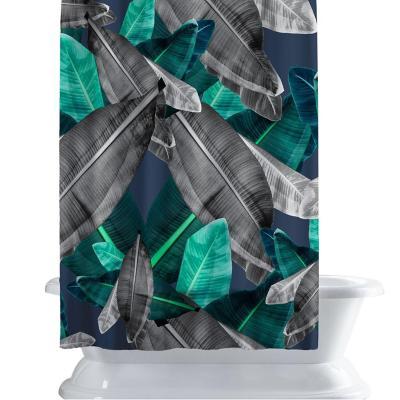 Cortina de baño 150x180 cm hojas verde