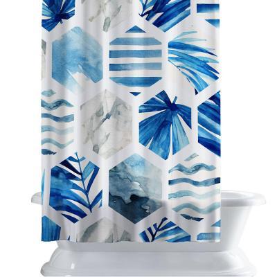 Cortina de baño 150x180 cm panal azul