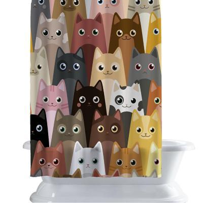 Cortina de baño 150x180 cm gatitos