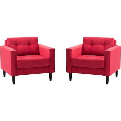 Set 2 sillones 1 cuerpo felpa rojo