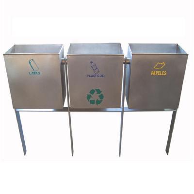 Basurero de reciclaje de tres contenedores 90 cm