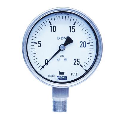 Manómetro-1/2 npt 0 a 25 bar dial 100mm