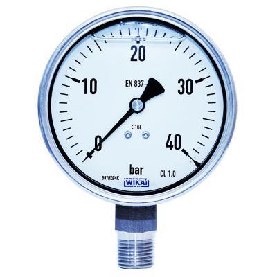 Manómetro 1/2 npt inferior de 0 a 40 bar dial 100
