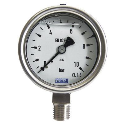Manómetro 1/4 npt inferior 0 a 10 bar dial 63 mm