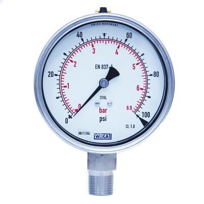 Manómetro 1/2 npt inferior de 0 a 100 psi
