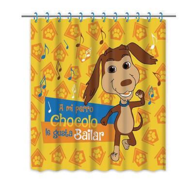 Cortina de baño perro chocolo amarillo 180x180 cm