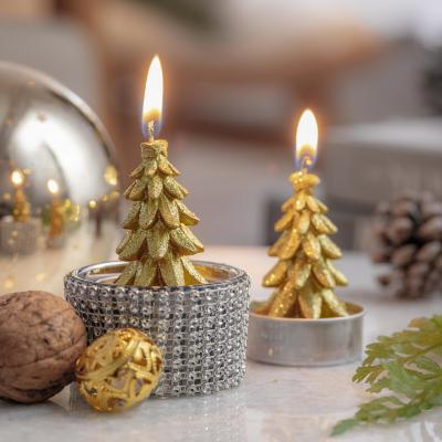 Set de 6 velas árbol 7 cm dorado