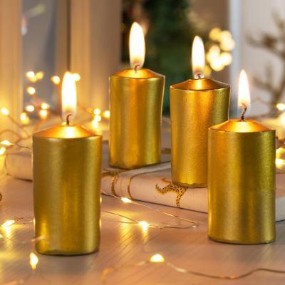 Set de 4 velas 6 cm doradas