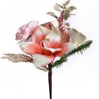 Pick flor navidad rosado