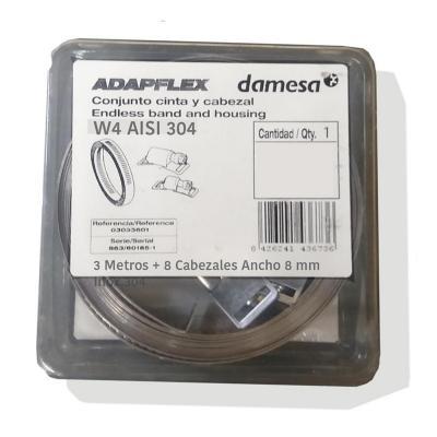 Kit cinta acero adapflex 3m / 8 cabezales 8 mm. AISI 304
