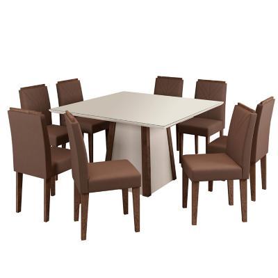 Juego de comedor café 8 sillas 136x136x80 cm