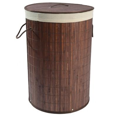 Cesto de ropa redondo bambú chocolate