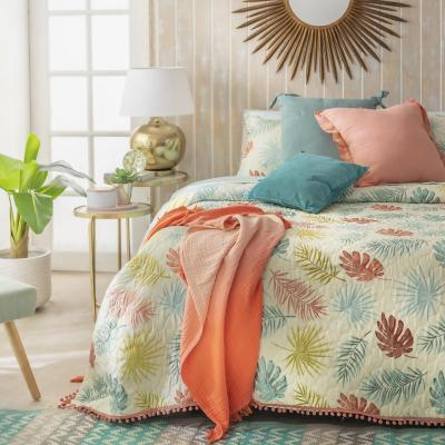 Quilt Tropical hojas king multicolor