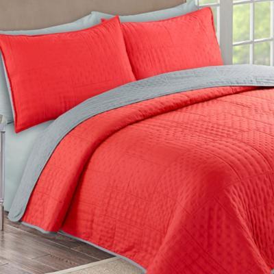 Quilt + sábanas bicolor 2 pl crema/gris