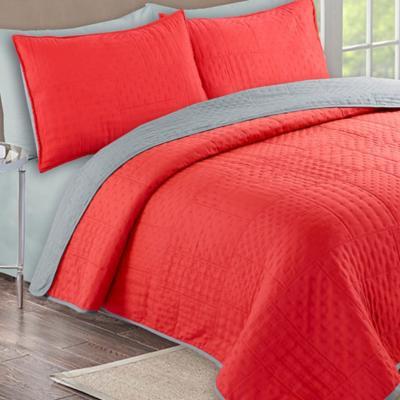 Quilt + sábanas bicolor 1,5 pl crema/gris