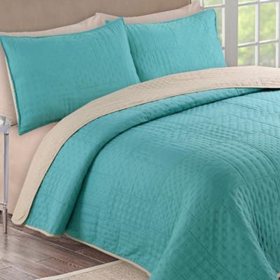 Quilt + sábanas bicolor 2 pl verde/beige