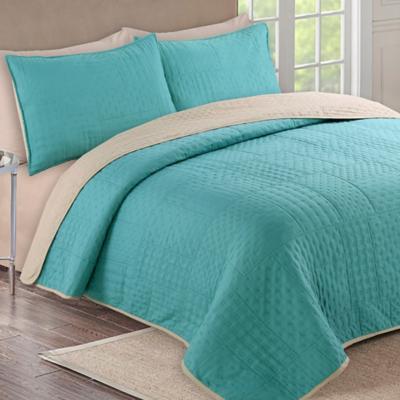 Quilt + sábanas bicolor 1,5 pl verde/beige