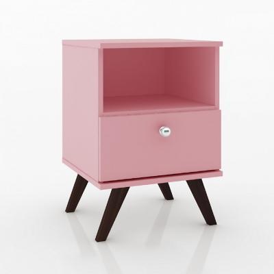 Velador 1 cajón retro rosado 58x40x38 cm