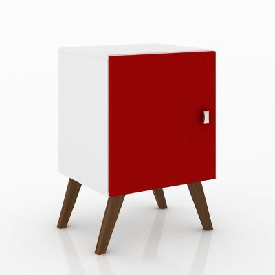 Velador retro con puerta blanco/rojo 57x40x39 cm