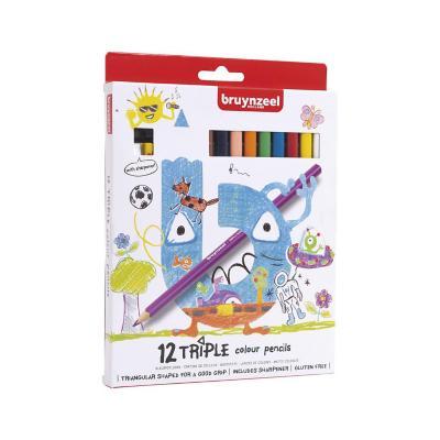 Lápices triangulares 12 colores con sacapuntas