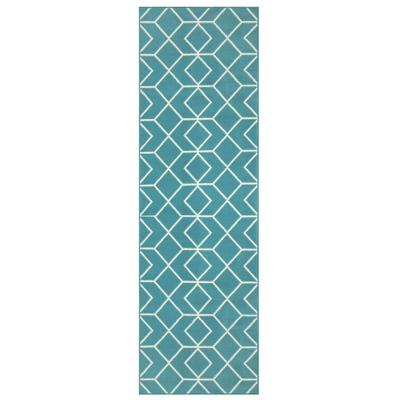 Alfombra pasillo kashan king 70x230 cm azul