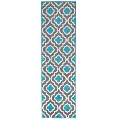 Alfombra pasillo kashan king 70x213 cm azul