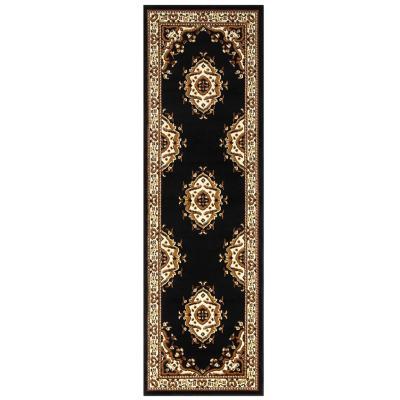 Alfombra pasillo kashan king 70x230 cm negro