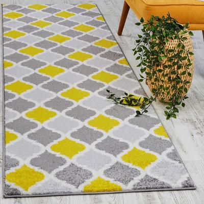 Alfombra pasillo florida 80x230 cm gris/amarillo