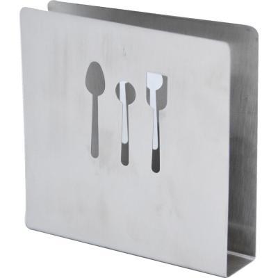 Servilletero 10,5x10,5 cm plateado acero inoxidable