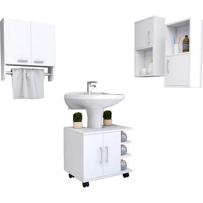 Botiquín + optimizador lavamanos blanco