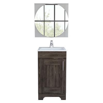 Combo mueble de lavamanos + espejo coñac