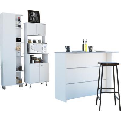 Combo cocina mueble cocina + barra de cocina+optimizador-blanco