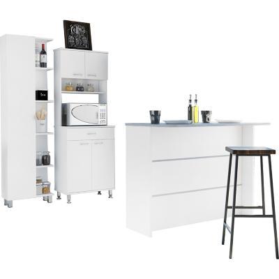 Combo cocina mueble cocina + barra de cocina + optimizador-blanco